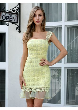 เหลือง color เดรส . Double Crazy Embroidered Overlay Bodycon Dress -