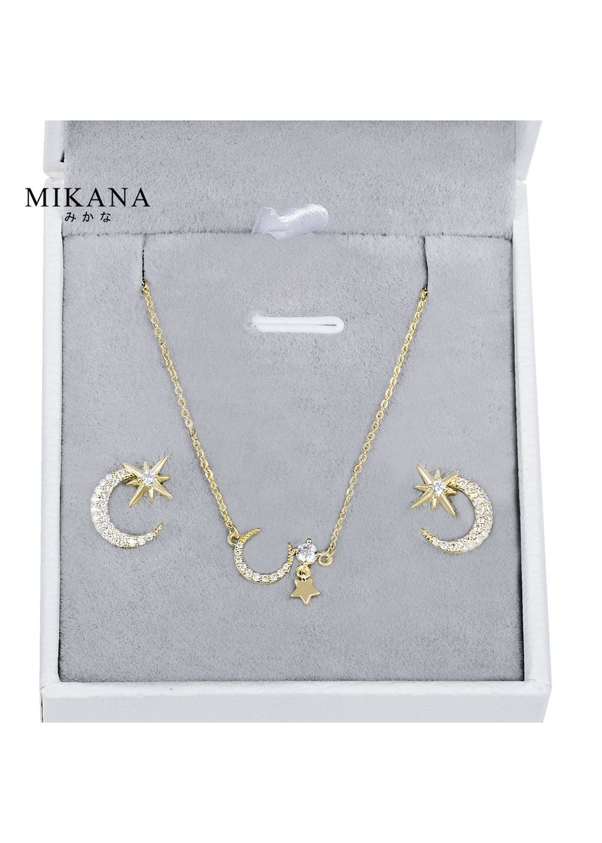 Gold color  . Mikana 18k Gold Plated Luna Jewelry Set Accessories For Women -