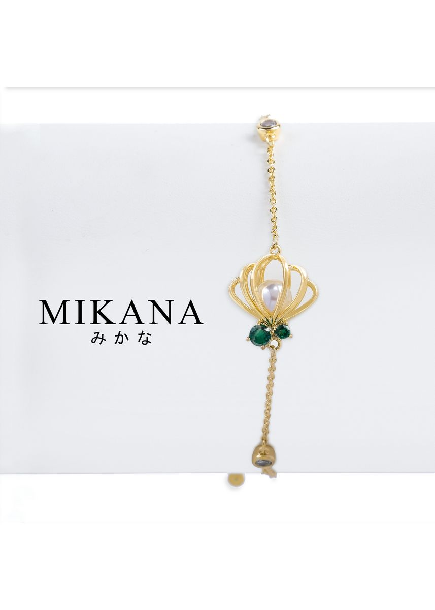 Gold color  . Mikana Princess Little Mermaid Ariel Pearl 18k Gold Plated Link Bracelet Accessories For Women -