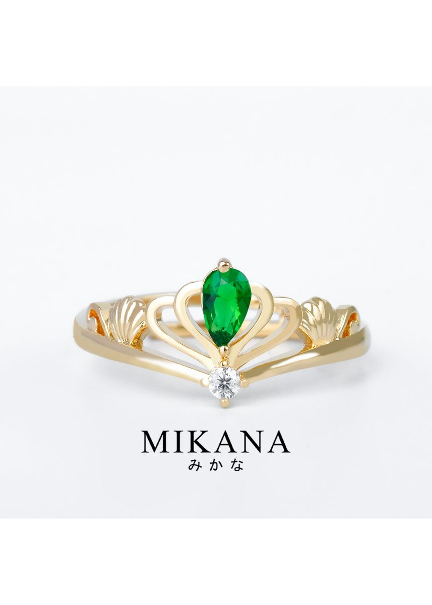 Gold color  . Mikana Princess Little Mermaid Ariel Golden Tiara 18k Gold Plated Ring Accessories For Women -
