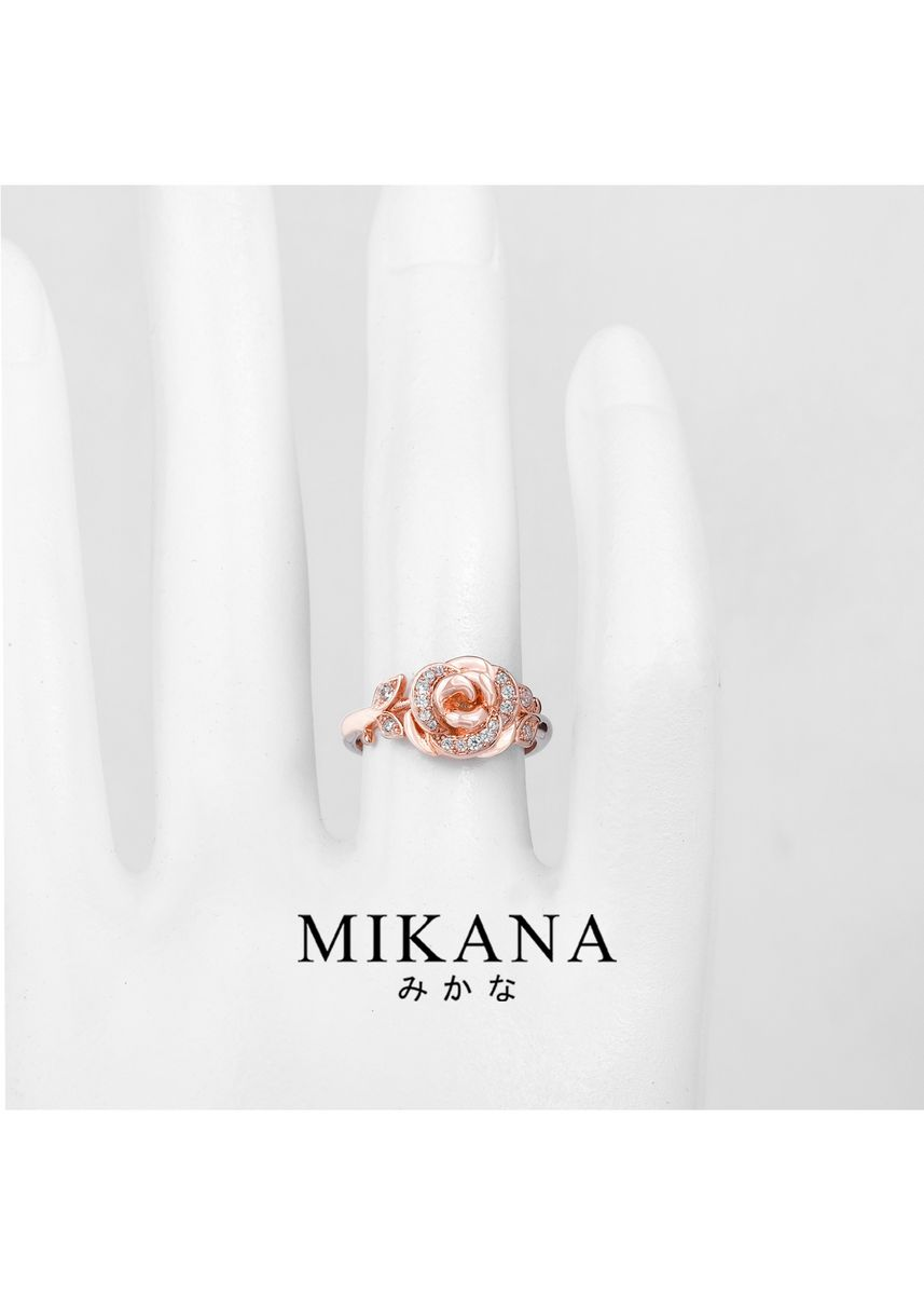 Gold color  . Mikana Princess Beauty And The Beast Belle Pink Rose 18k Rose Gold Plated Ring Accessories For Women -