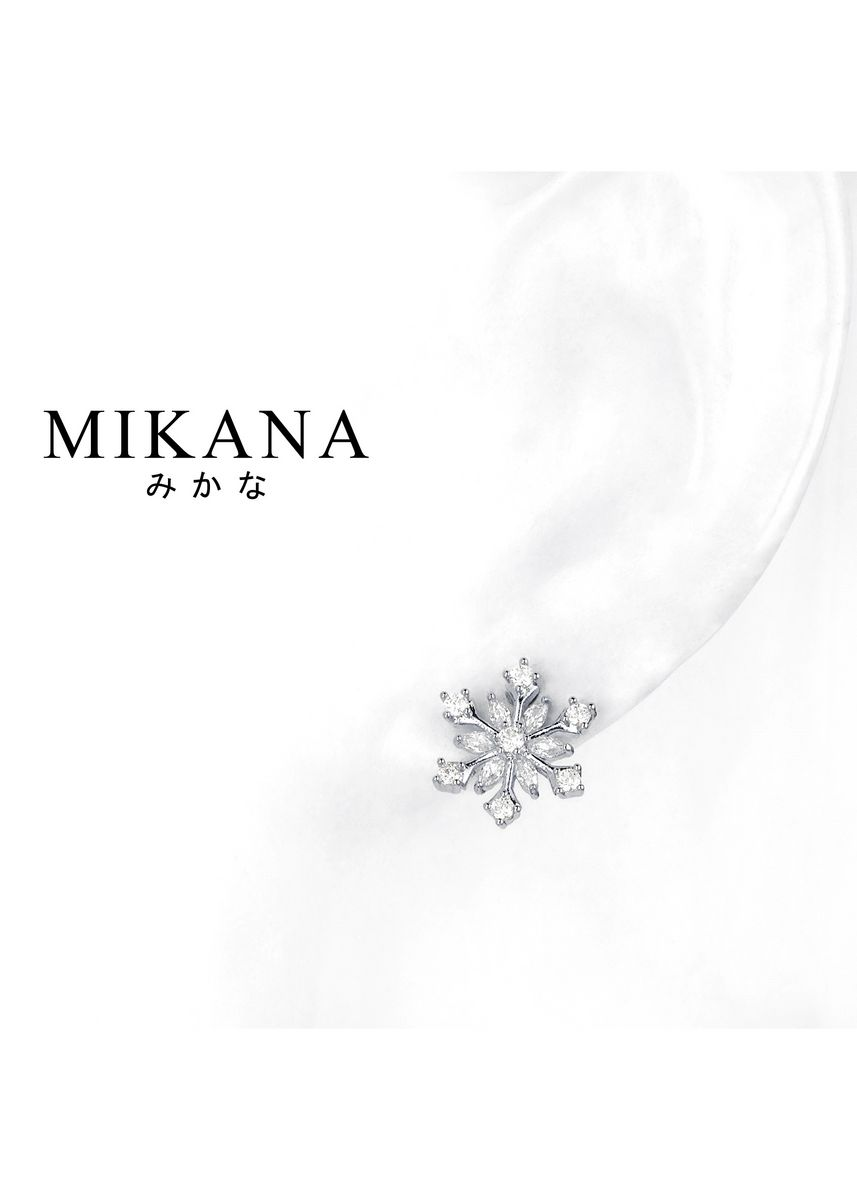 Gold color  . Mikana Princess Frozen Elsa Snow Crystal 14k White Gold Plated Stud Earrings Accessories For Women -