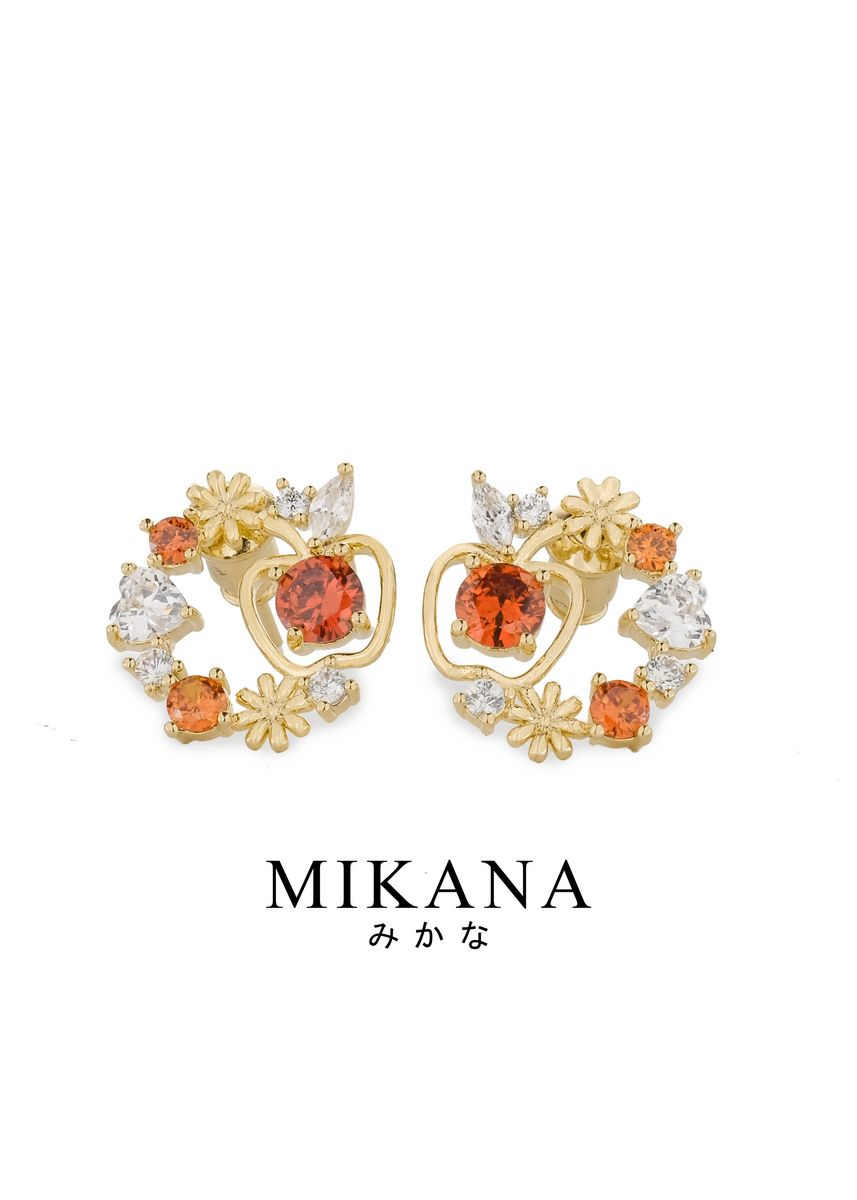 Gold color  . Mikana Princess Snow White Red Cheek 18k Gold Plated Stud Earrings Accessories For Women -