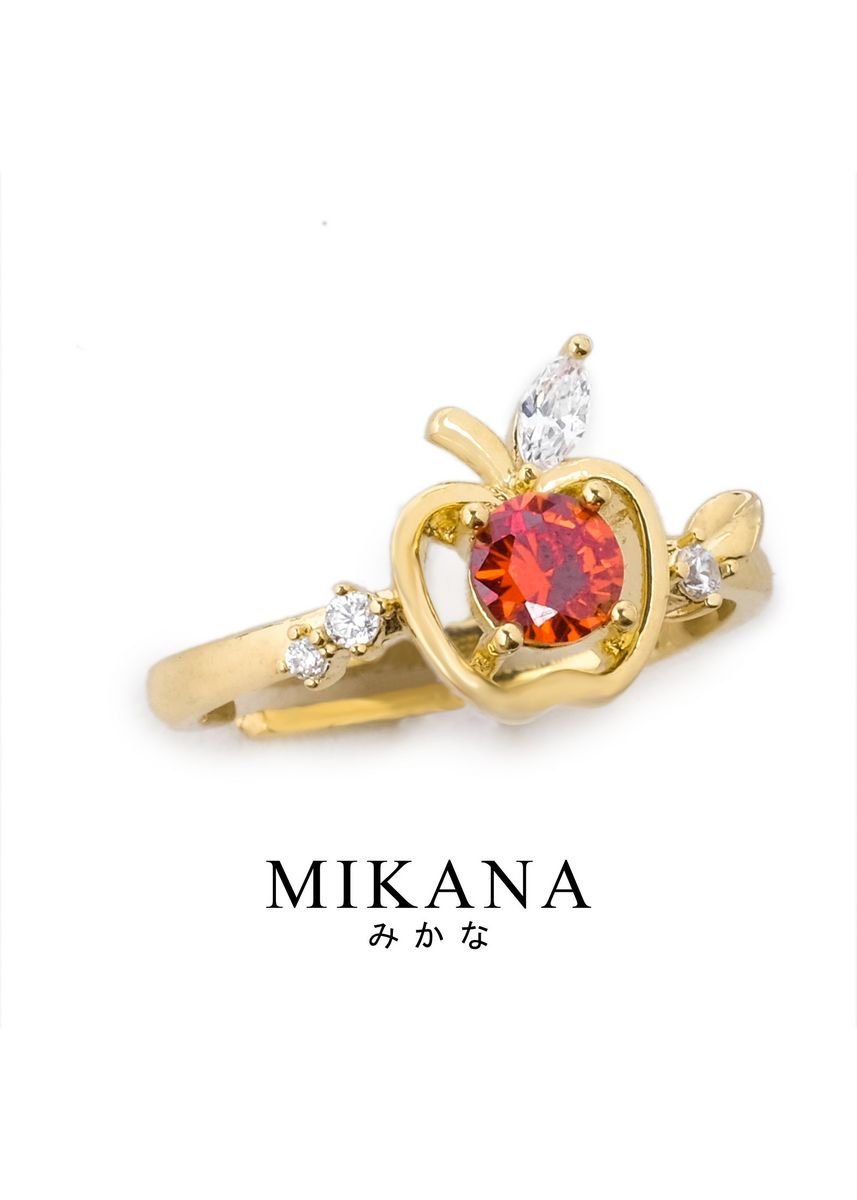 Gold color  . Mikana Princess Snow White Apple 18k Gold Plated Ring Accessories For Women -