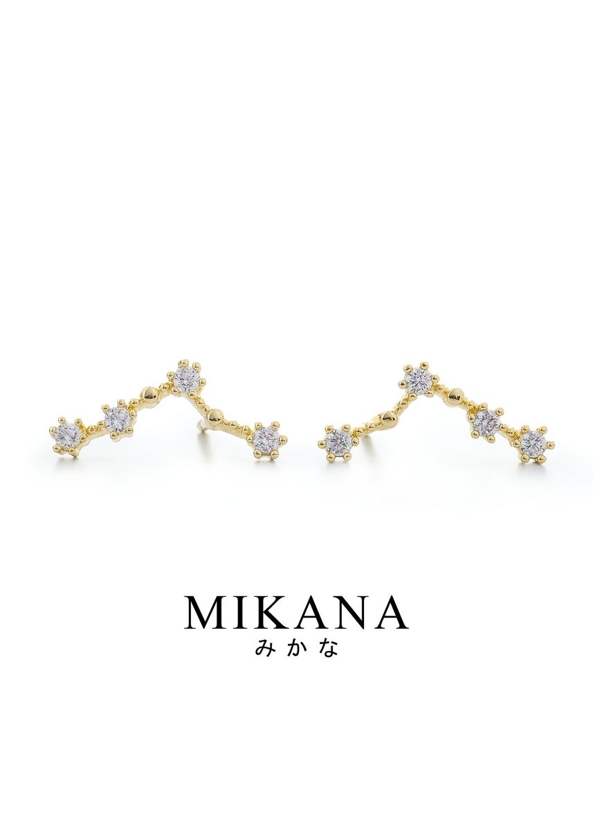 Gold color  . Mikana Constellation 18k Gold Plated Pisces Afurodite Stud Earrings Accessories For Women -