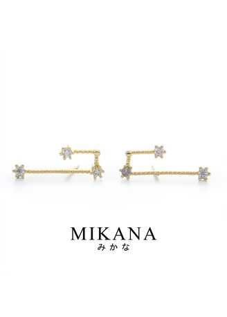 Gold color  . Mikana Constellation 18k Gold Plated Aries Jigoku Stud Earrings Accessories For Women -