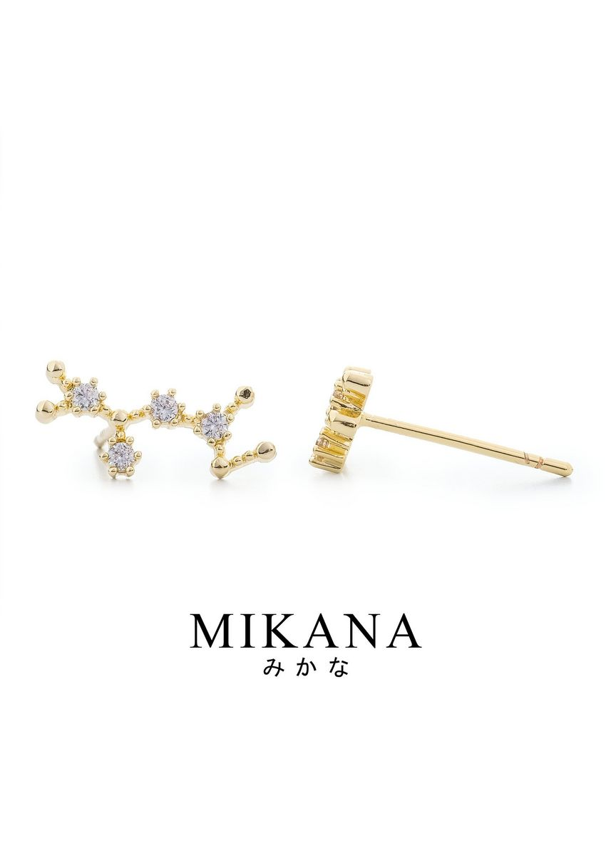 Gold color  . Mikana Constellation 18k Gold Plated Sagittarius Rinden Stud Earrings Accessories For Women -