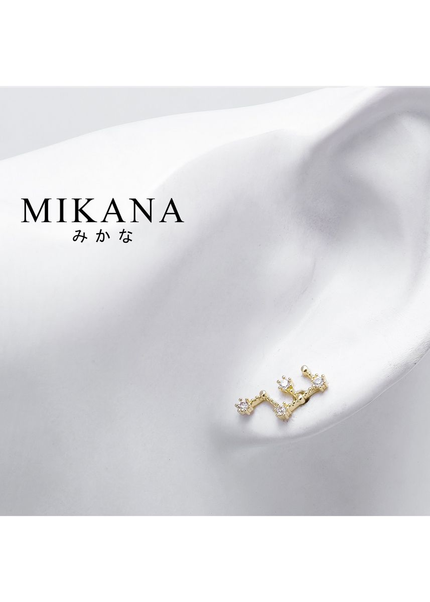 Gold color  . Mikana Constellation 18k Gold Plated Virgo Teibo Stud Earrings Accessories For Women -