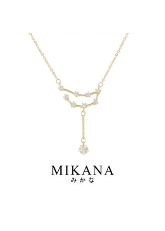 Gold color  . Mikana Constellation 18k Gold Plated Capricorn Meishu Pendant Necklace Accessories For Women -