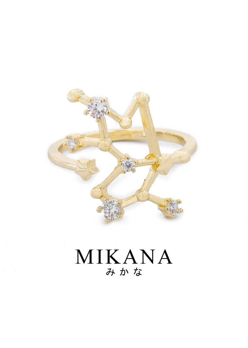 Gold color  . Mikana Constellation 18k Gold Plated Taurus Buru Ring Accessories For Women -