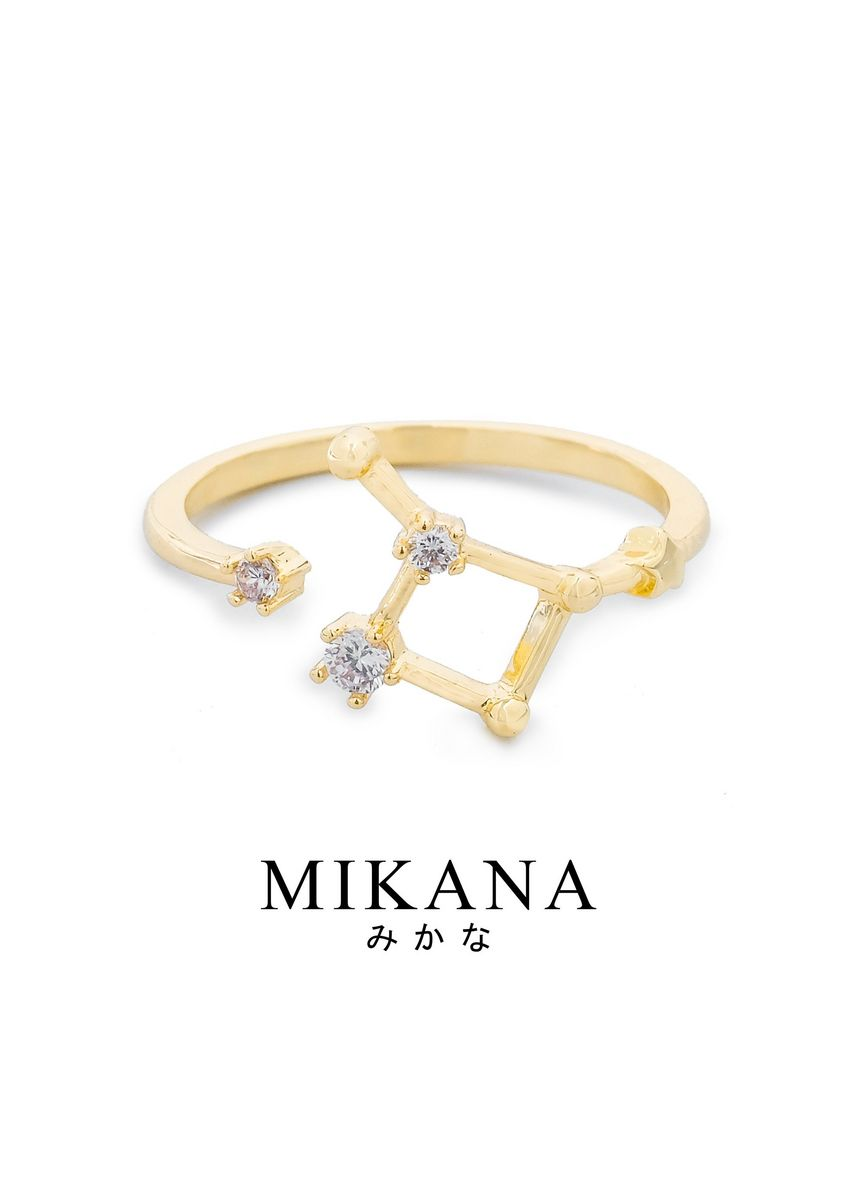 Gold color  . Mikana Constellation 18k Gold Plated Cancer Jinro Ring Accessories For Women -