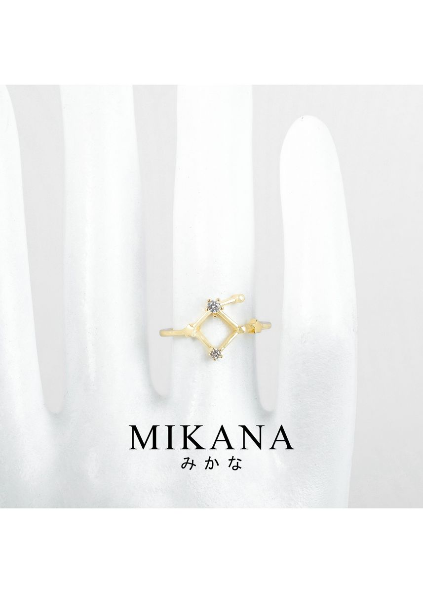 Gold color  . Mikana Constellation 18k Gold Plated Libra Shirifu Ring Accessories For Women -