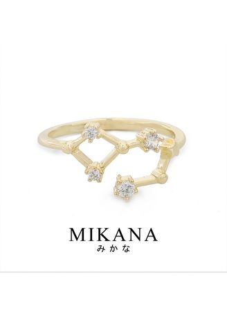 Gold color  . Mikana Constellation 18k Gold Plated Aquarius Washi Ring Accessories For Women -