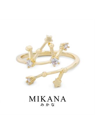 Gold color  . Mikana Constellation 18k Gold Plated Virgo Yunikon Ring Accessories For Women -