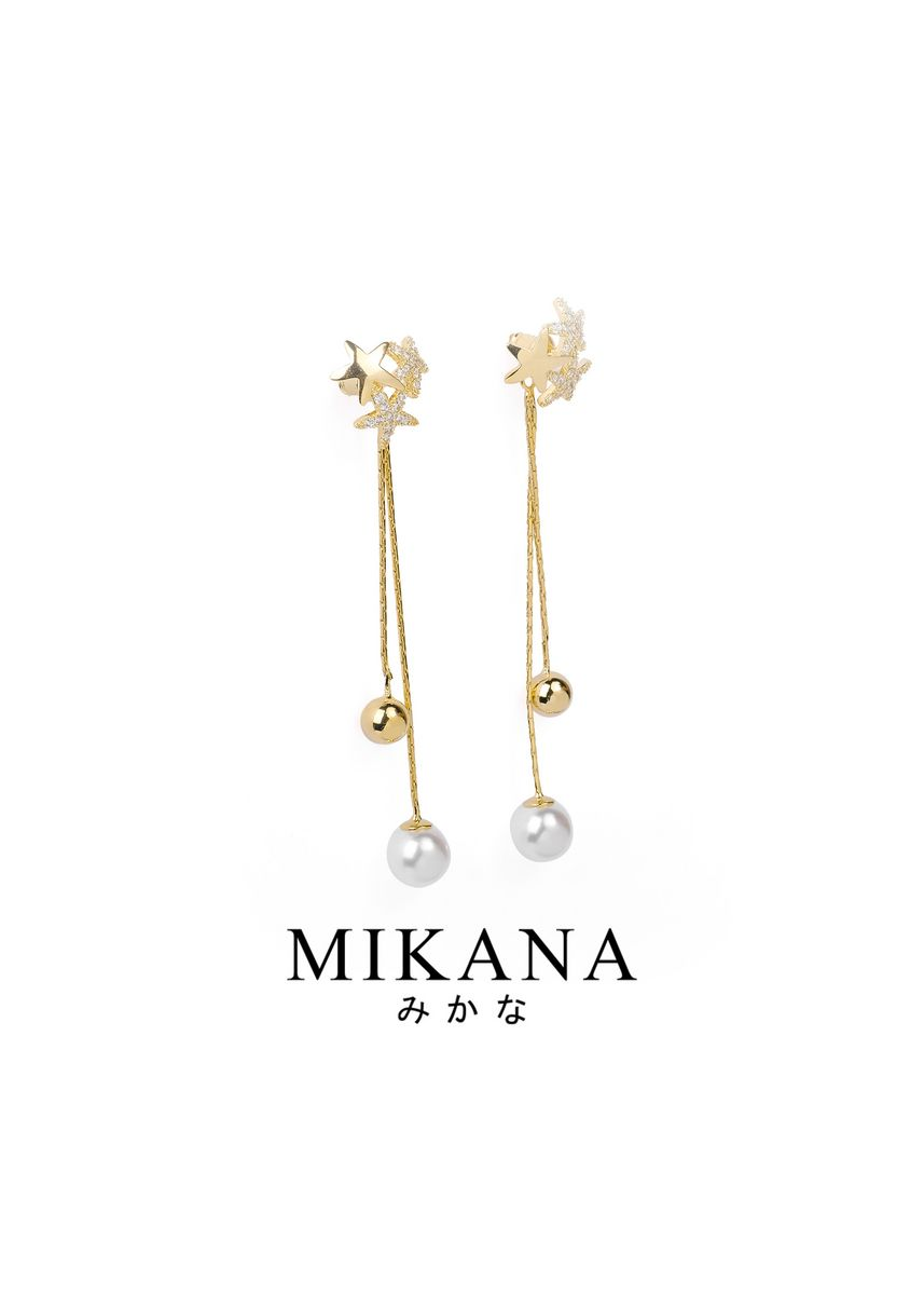 Gold color  . Mikana 18k Gold Plated Satsuki Dangling Earrings accessories for women -