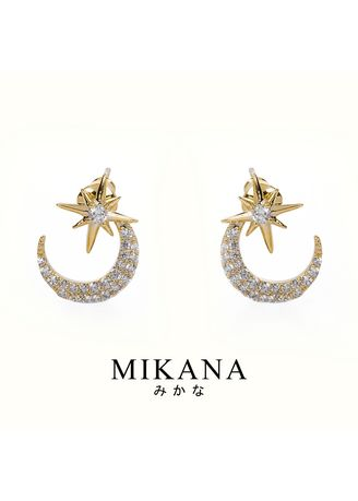 Gold color  . Mikana 18k Gold Plated Shouko Stud Earrings accessories for women -