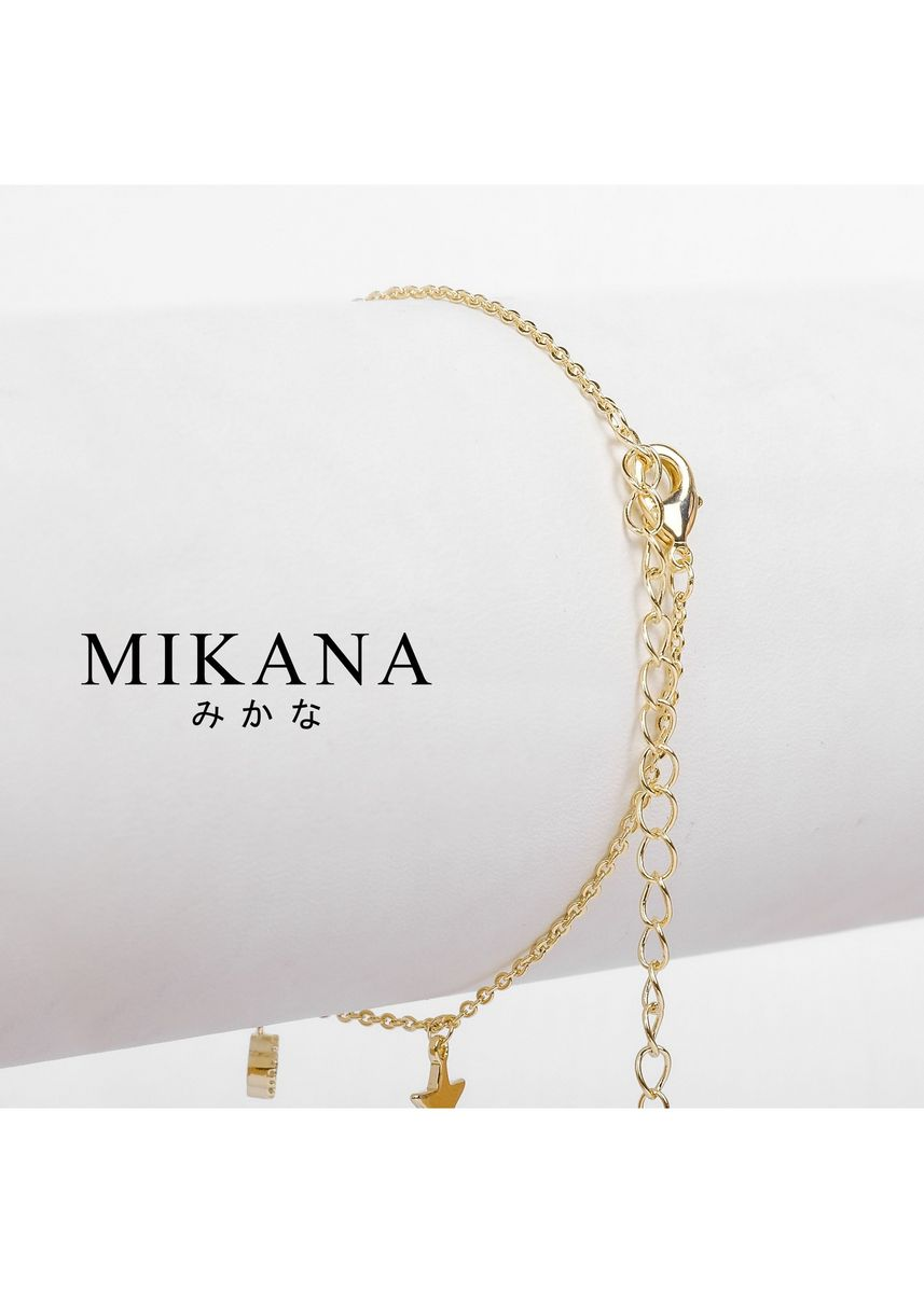Gold color  . Mikana 18k Gold Plated Tatsumaki Anklet accessories for women -