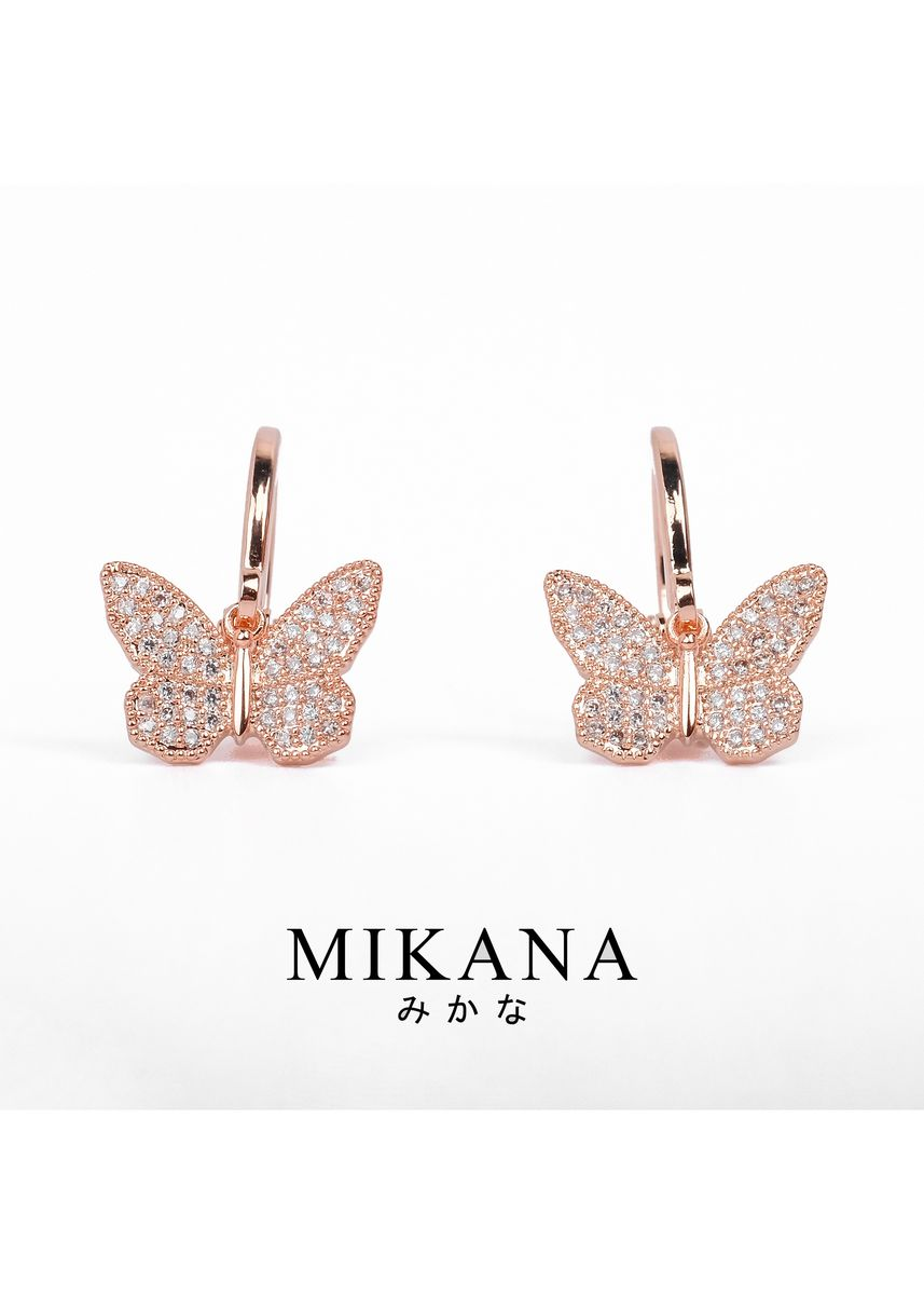 Gold color  . Mikana 18k Rose Gold Plated Tsuyuri Drop Earrings accessories for women -