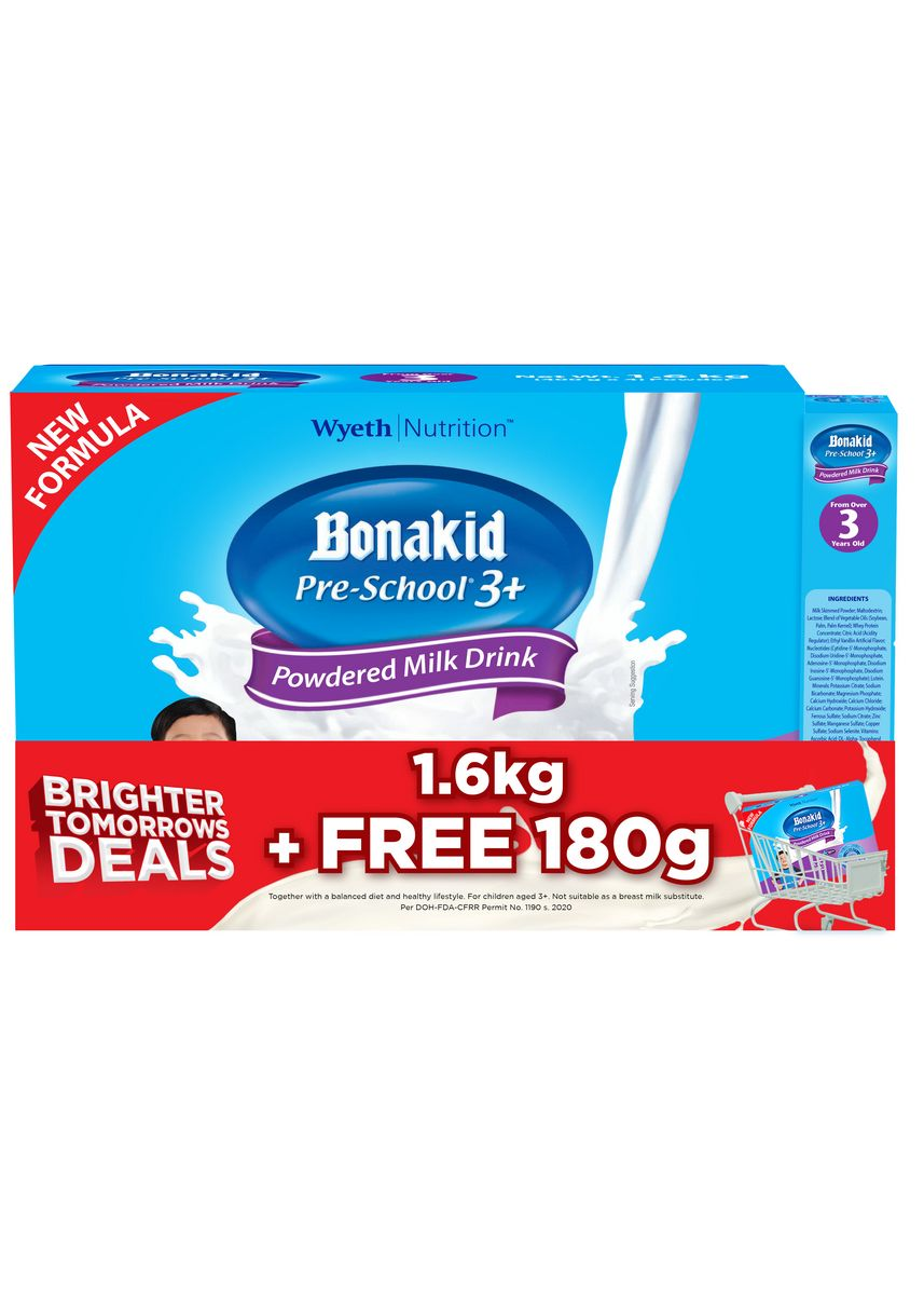 No Color color Milk . Bonakid Pre-school 3+ 1600g with FREE Bonakid Pre-school 3+ 180g -