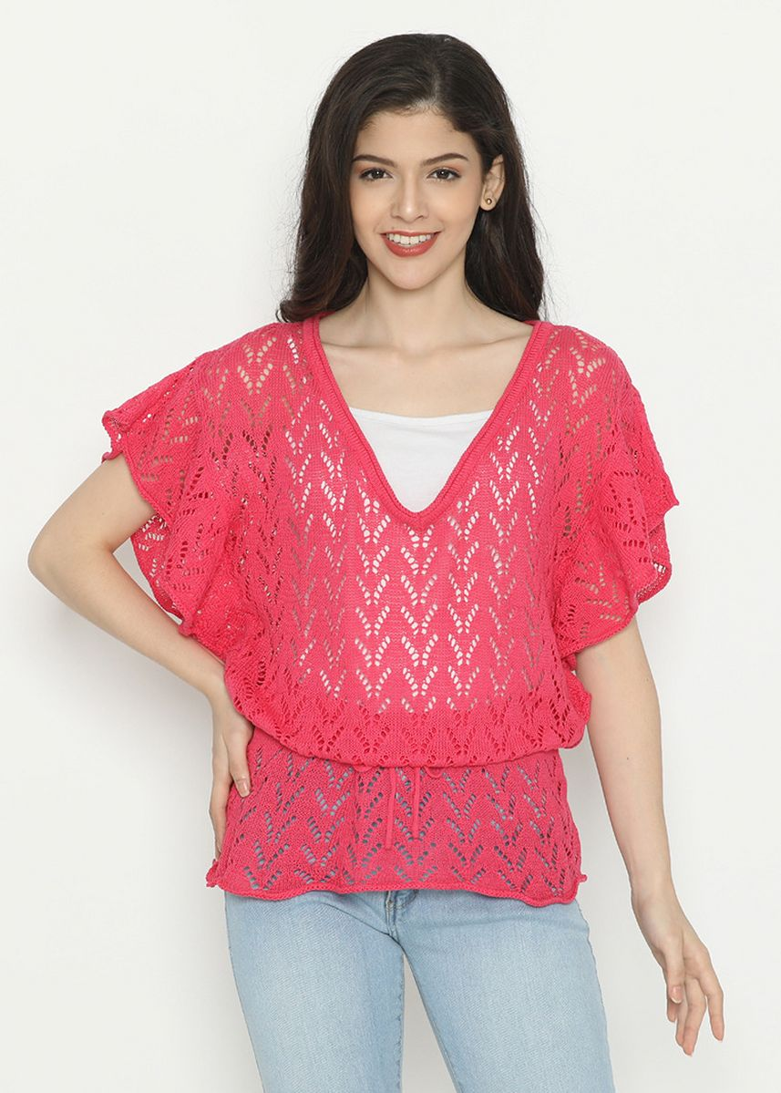 Pink color Tops and Tunics . Batwing Knitting Variation Mobile Power Ladies-Pink D20250C -