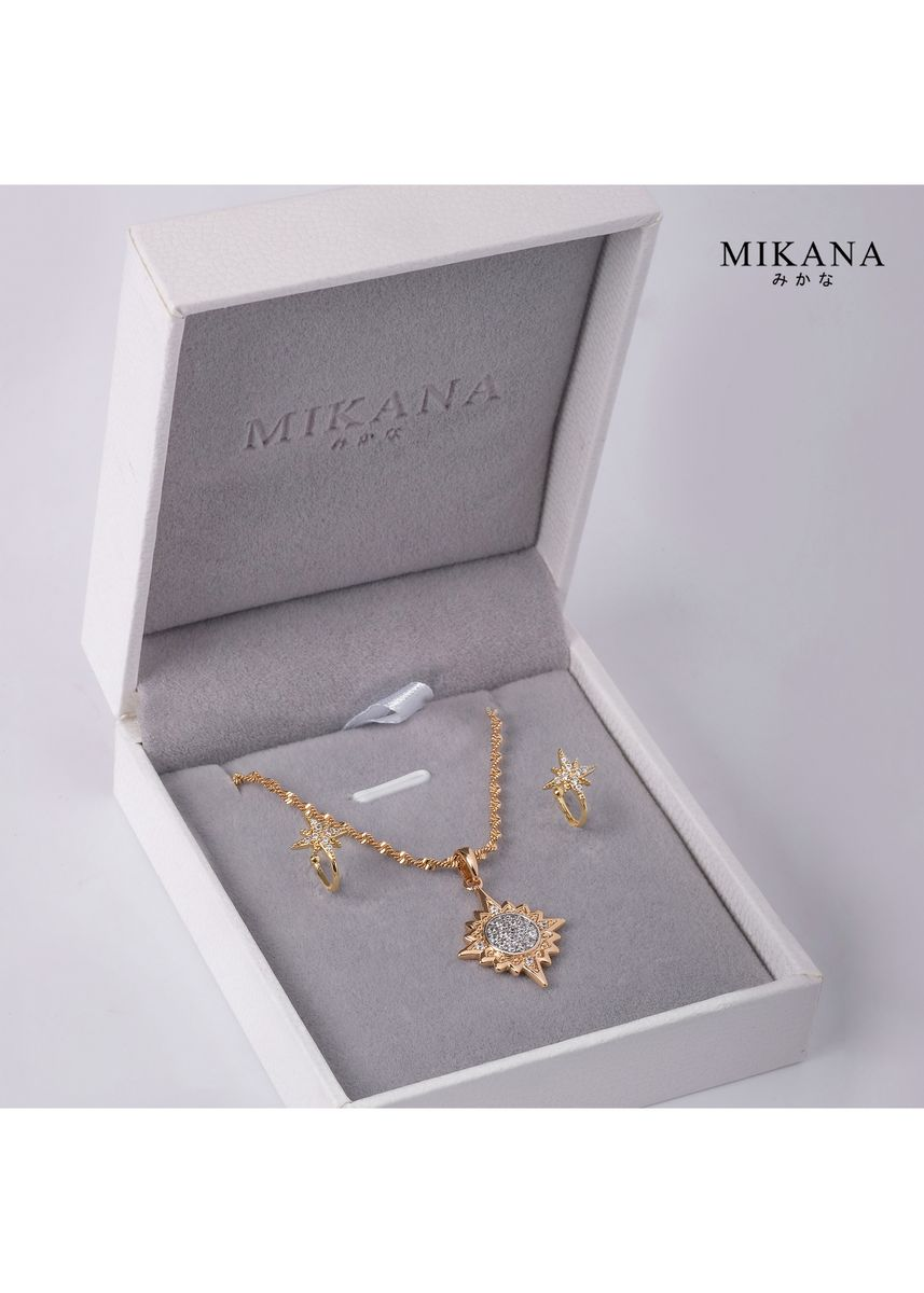 Gold color  . Mikana 18k Gold Plated Starlight Jewelry Set accessories for women -