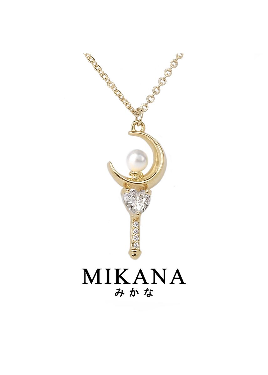Gold color  . Mikana Mahou Shoujo Magical Girl Sailor Moon 18k Gold Plated Moon Stick Jewelry Set Accessories For Women -