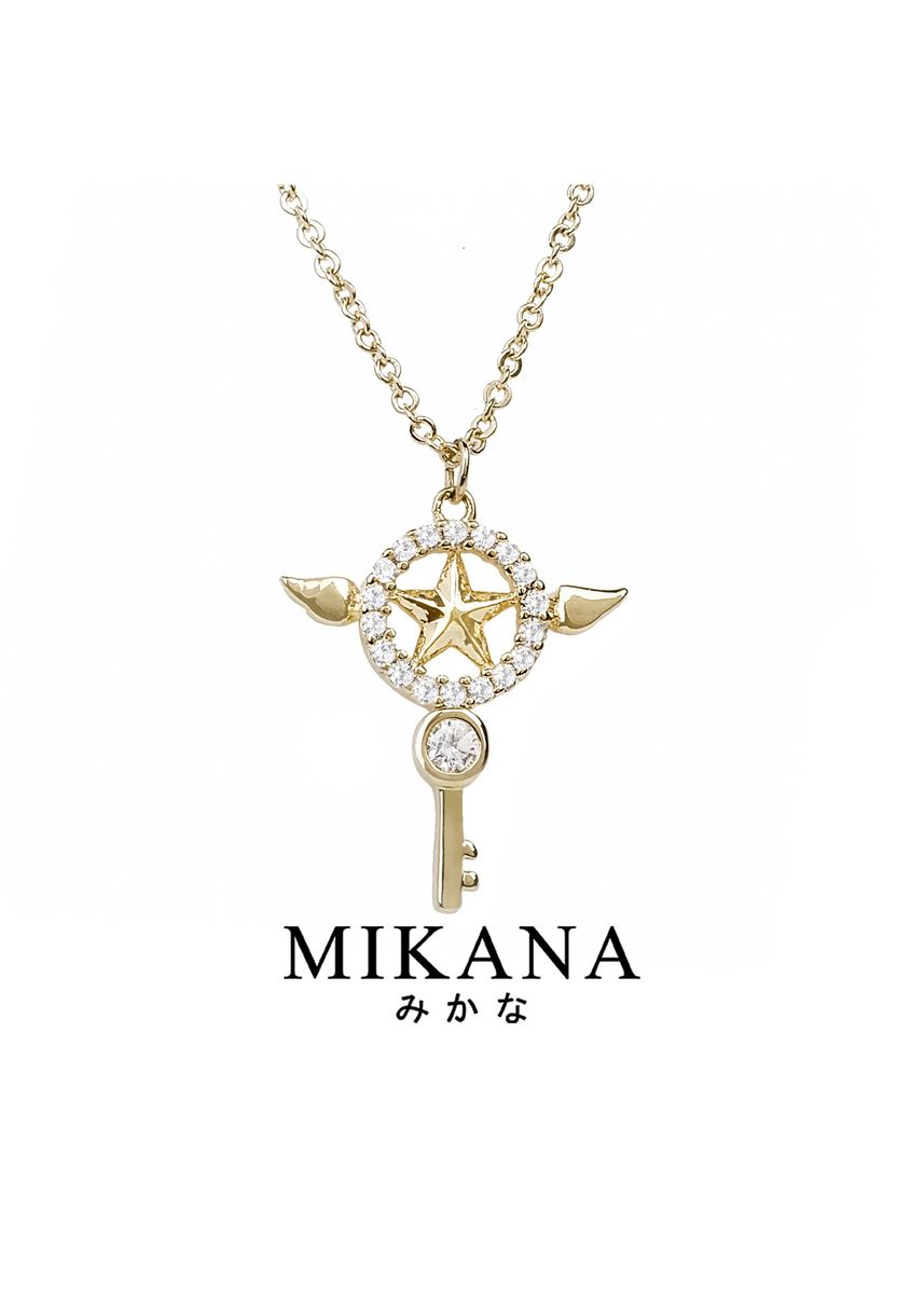 Gold color  . Mikana Mahou Shoujo Magical Girl Card Captor Sakura 18k Gold Plated Star Wand Jewelry Set Accessories For Women -
