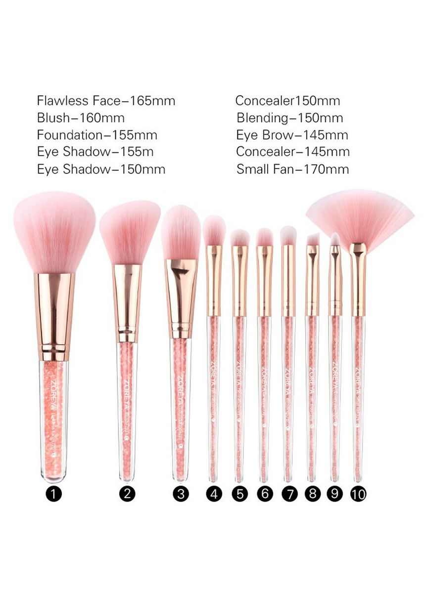 Pink color Set & Palette . 10 Pcs Professional Soft Synthetic Hair Makeup Brush and Bag Set -