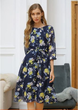 Navy color Dresses . Floral Chiffon Puffy Dress -
