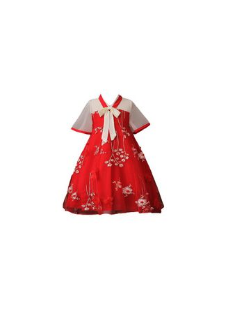 . CNY Flower Red Embroidery Dress -
