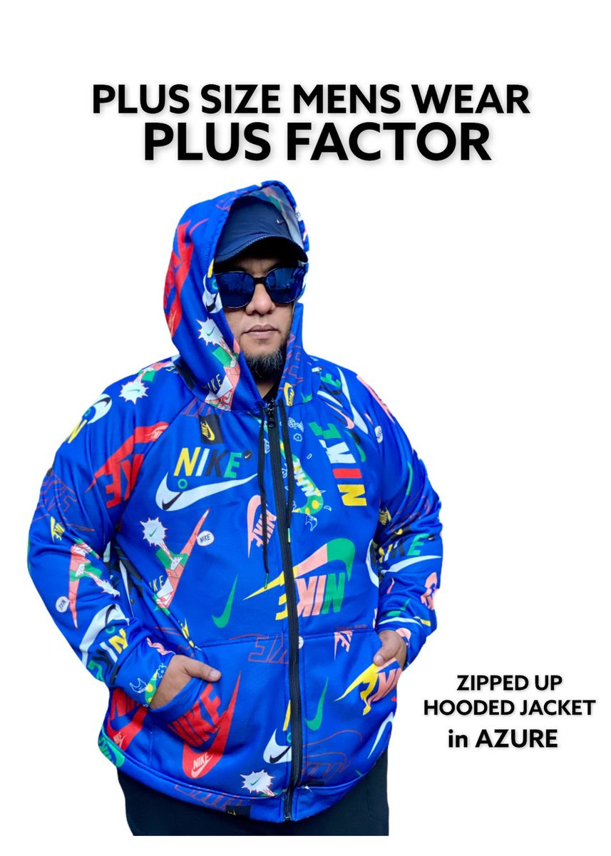 AZURE color Jackets . Plus Size Men's Wear 6XL Zipped Up Jacket With Hood  -