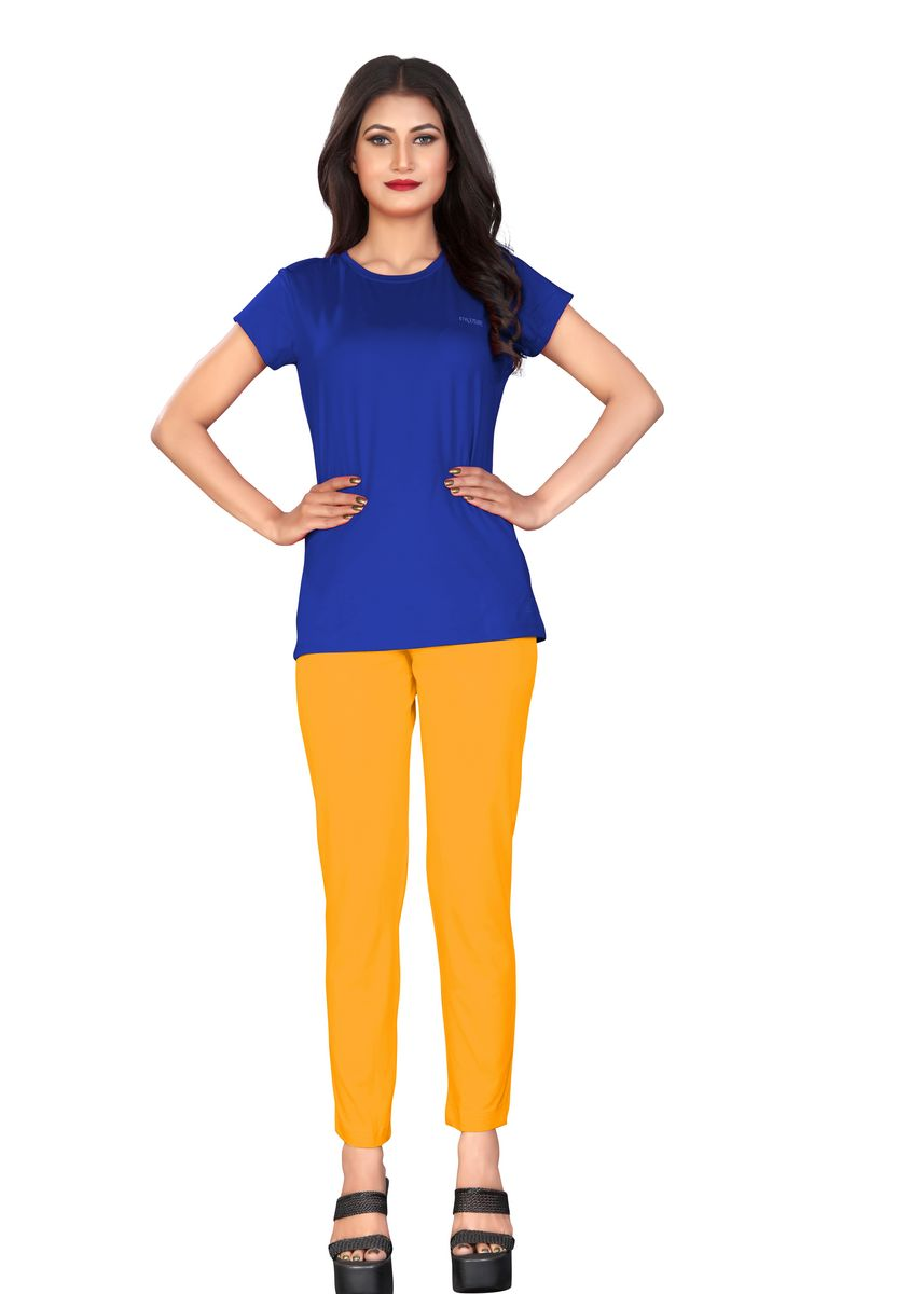 Yellow color Leggings . ANKLE LENGTH LEGGINGS ZIP YELLOW -