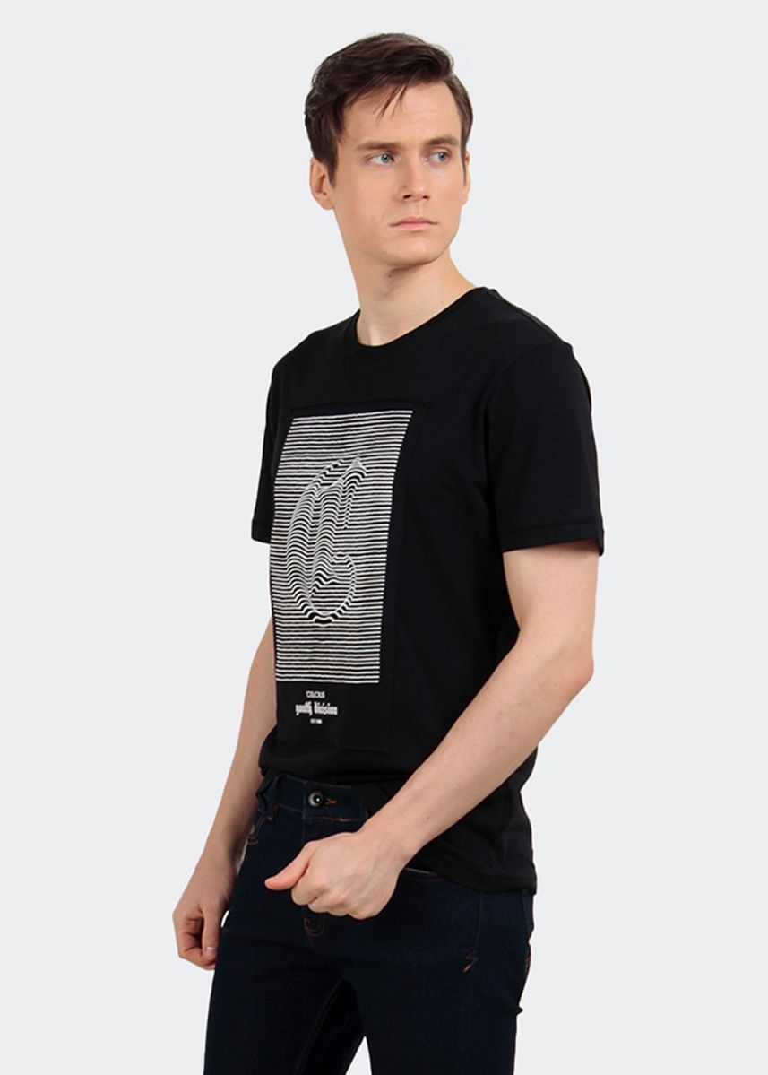 Black color T-Shirts and Polos . CELCIUS Kaos Embos A07506C Hitam -