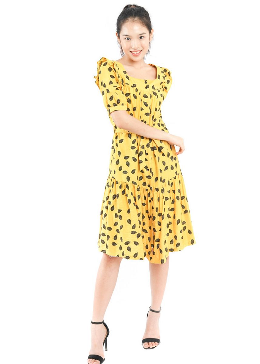 Yellow color Dresses . Agatha Yellow Summer Dress -