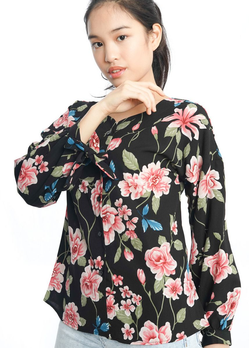 Black color Tops and Tunics . Agatha Floral Blouse -