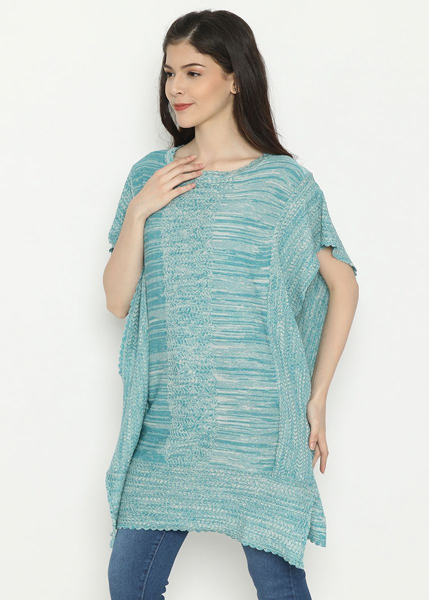 Cyan color  . Batwing Cardigan Knitting Tosca Mobile Power Ladies - D20203 -
