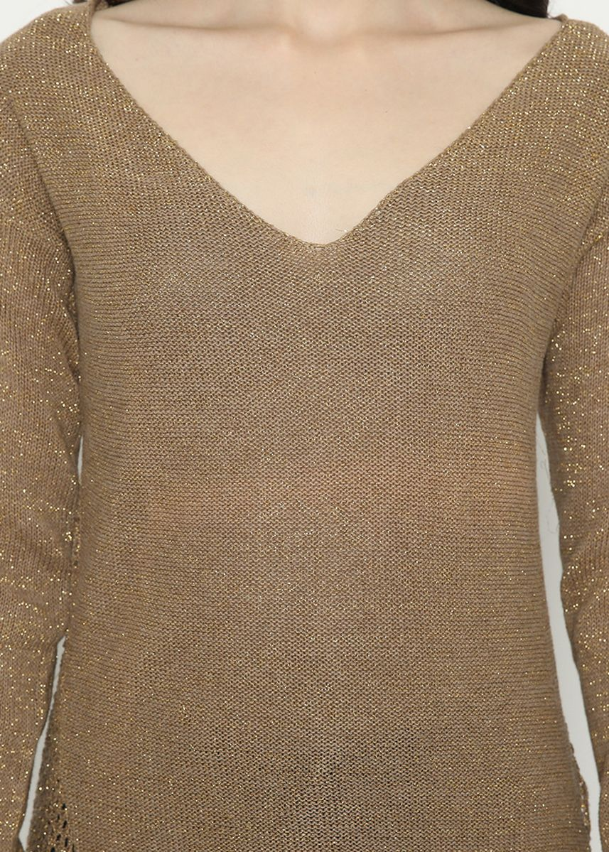 Brown color  . Knitting Variation Sweater Brown Gold Mobile Power Ladies - D20383 -