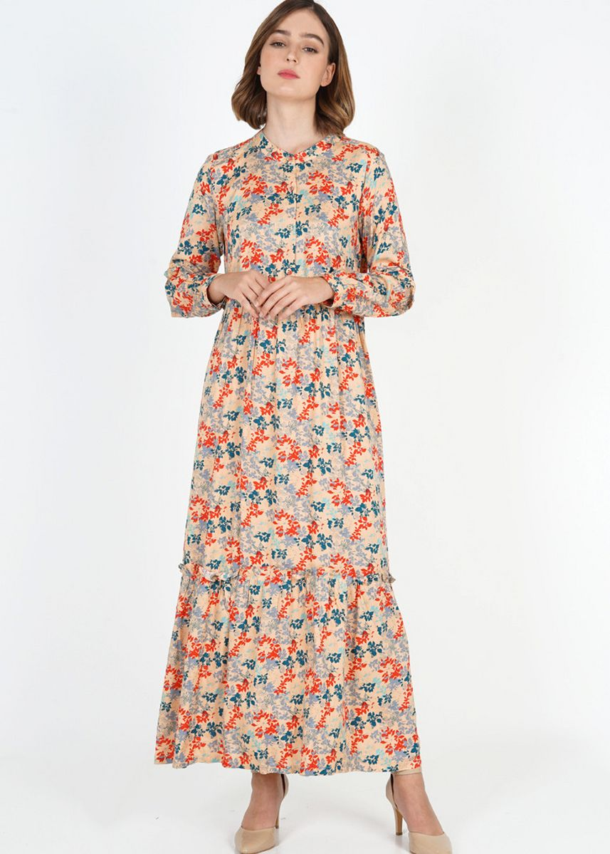 Multi color Terusan/Dress . Novel Mice - Dress Wanita | Gamis Rayon Print Palmate Soft Oranye -