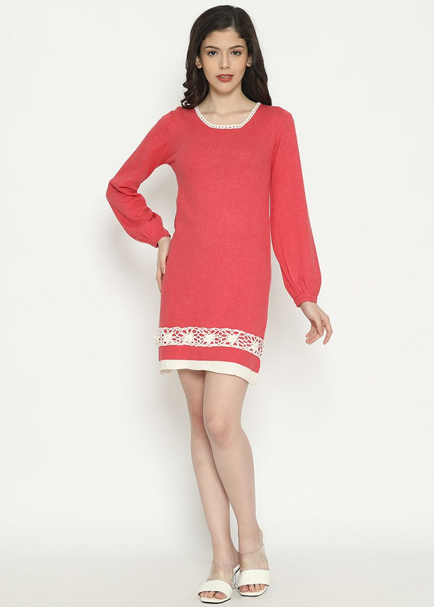 Merah Muda color Terusan/Dress . Long Sleeve Midi Dress Knitting Pink Peach Mobile Power Ladies - D20415 -