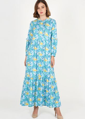 Multi color Dresses . Novel Mice - Dress Wanita | Gamis Rayon Print Blue Flamingo -