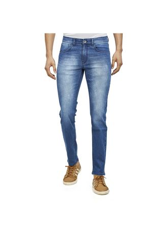 Light Blue color Jeans . ROXTON - MID-Rise Tapered Jeans(RX102) -