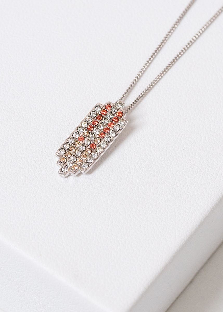 Silver color  . Aevari Praewa Necklace Sterling Silver 925 with Padparadcha Crystal -