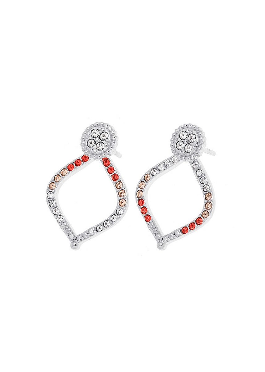 เงิน color  . Aevari Lotus Petal Earring Sterling Silver 925 with Padparadcha Crystal -