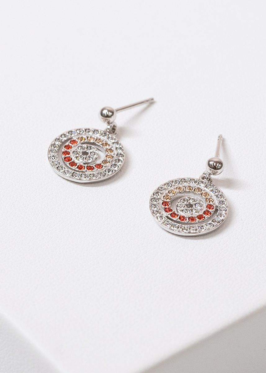 Silver color  . Aevari Ta Kai Earring Sterling Silver 925 with Padparadcha Crystal -