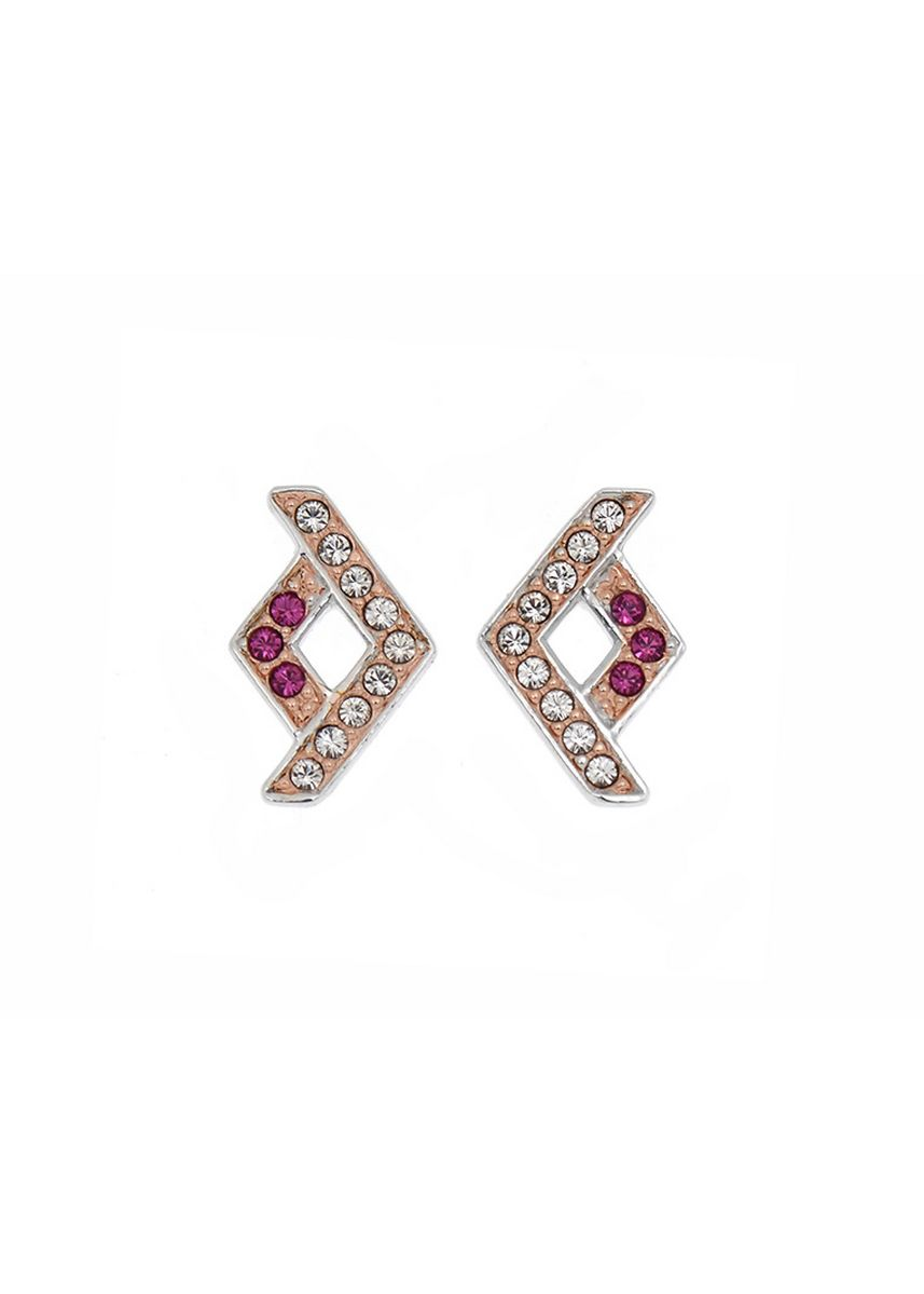 Silver color  . Aevari Kit Pattern Earring Sterling Silver 925 with Fuchsia Crystal -