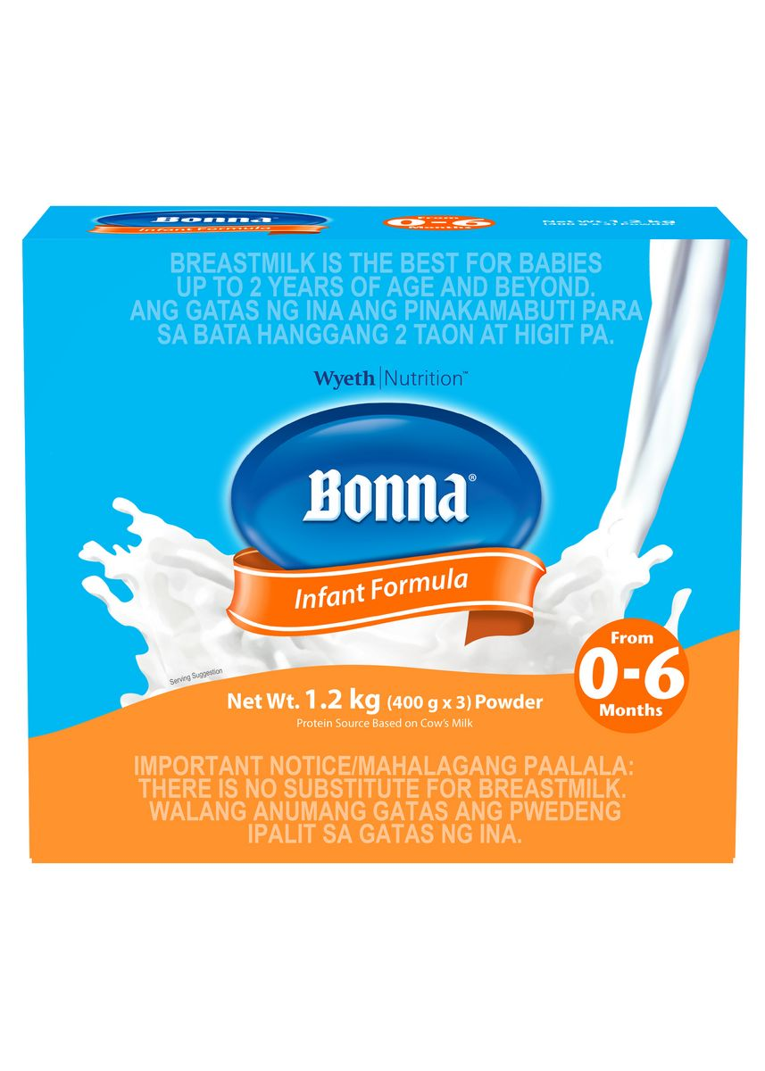 No Color color Milk . Wyeth Bonna Stage 1 Infant Formula For 0 To 6 Months, 1.2kg Box -