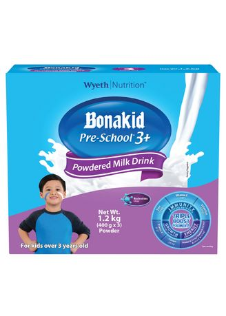 No Color color Milk . Wyeth Bonakid Pre-School 3+ Stage 4 Powdered Milk Drink For Children Over 3 Years Old, 1.2kg Box -