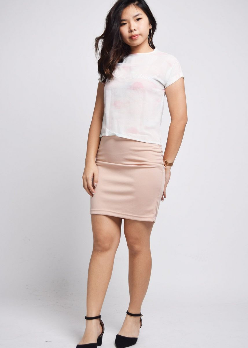 Pink color Tops and Tunics . Fineena Blue And Pink Pastel Sky Top -