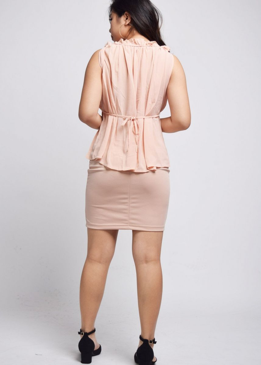 Pink color Tops and Tunics . Fenya Peach Chiffon Fold Flare Top -