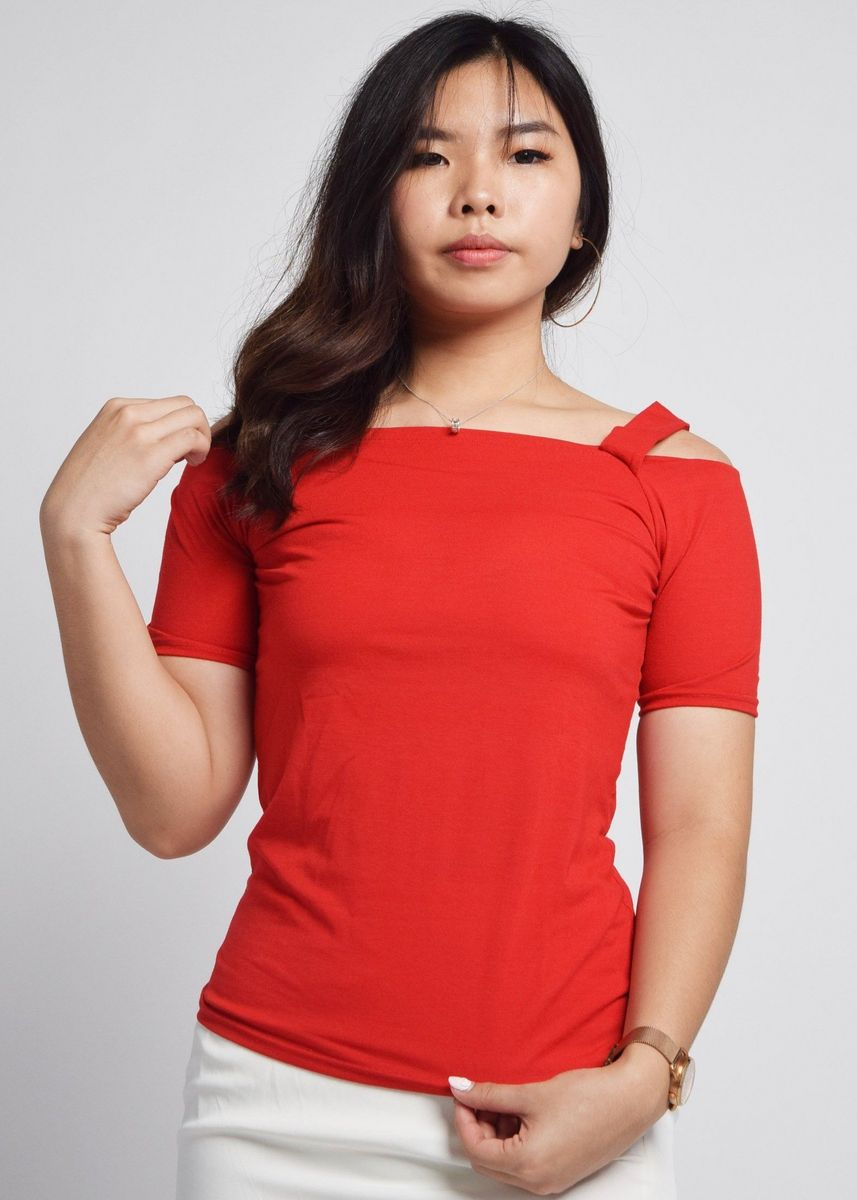 Red color Tops and Tunics . Aggie Shoulder Cutouts/ Off The Shoulder Top -